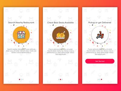 Daily UI #009 - Food App Walkthrough Screens app ux user interface ui ios user experience design restaurant app food and beverage food and drink vendor deliveries restaraunt food app