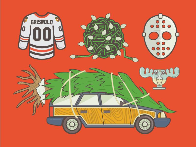 Christmas Vacation Set christmas vacation wagon tree lights hockey mask jersey griswold moose