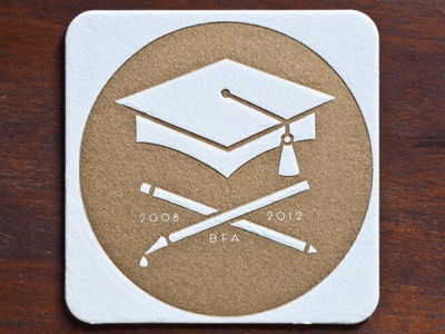 Graduation announcement Coasters letterpress graduation announcement hat coaster