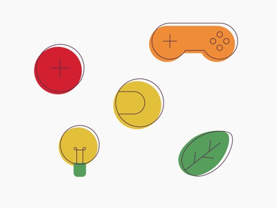 That Media Thing - Icons controller leaf lighbulb sport gamepad icon illustrator vector illustration icons design icons