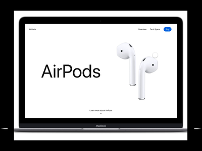 AirPods interaction freebie freebie ui ux ios design minimal adobexd scrolling web apple airpod animation motion uiux interaction