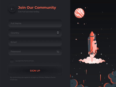 Sign Up Form - Neumorphism night galaxy rocket moon space motion web design animation neumorphism adobexd interaction uiux illustration form sign up