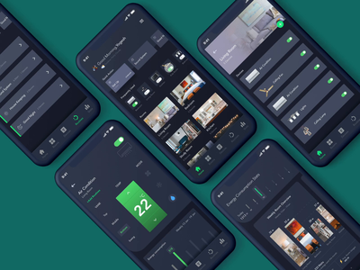 Smart Home Automation App control elements interaction ios mobile design smarthome uiux livingroom analytic stats routine devices rooms light dark mode app