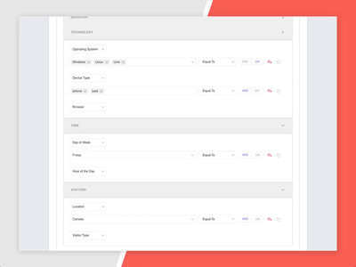 Segmentation Builder product design targeting marketing automation website goal behavior technology time source audience visitors campaign marketing condition builder segmentation segment interaction design uiux