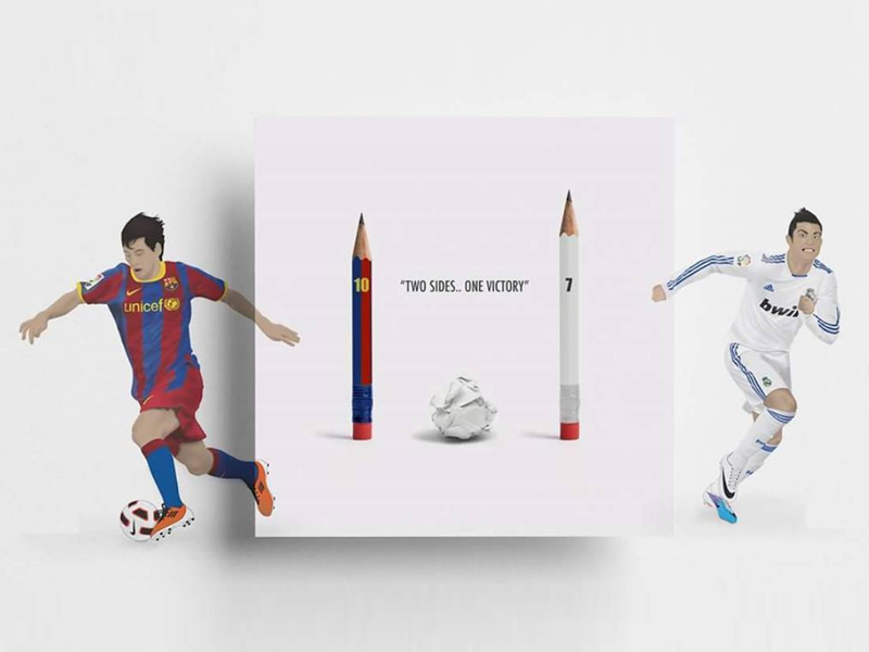 El Clásico pencil illustration messi ronaldo football barcelona realmadrid el clásico