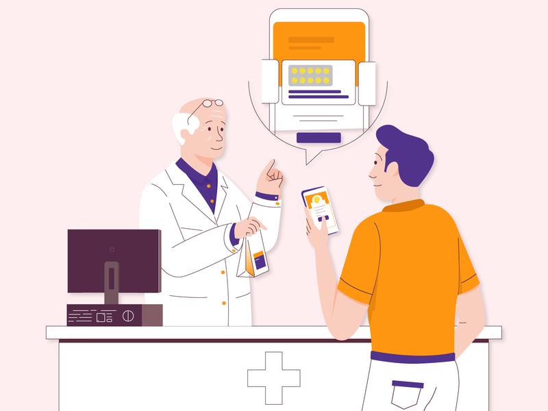 Online Clinic peoples medical design pharma helth doctor app online medicine uiux illustration