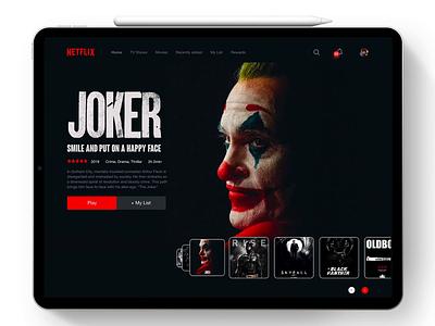 Netflix Carousel Interaction adobe xd adobexd slider smart tv concept play movies vod netflix jhon wick joker motion animation carousel interaction ipad uiux