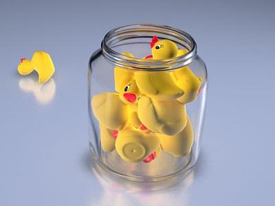 Jar with ducks 3d