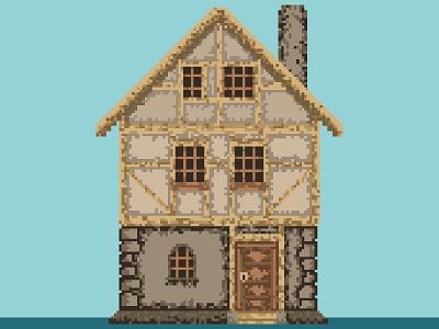 Pixel house game design game dev cottage house illustration pixel cottage house tree pixel art ipad pixel art pixel art process photoshop pixel art for games pixelart art pixels artwork pixel pixel art