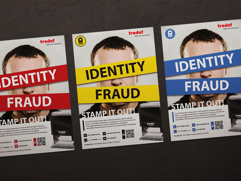 Trodat ID Protection stamp advert advertising layout identity fraud poster flyer stamp advert