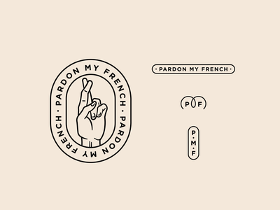Pardon My French typography fingers crossed brand logo