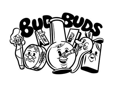 Bud buds character design vector bong