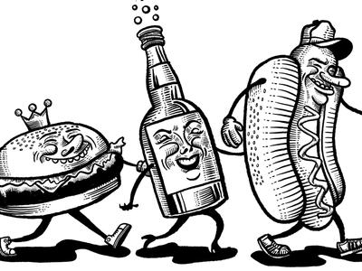 Single color snack crew. illustration procreate snacks