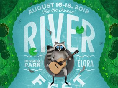 Riverfest 2019 design poster raccoon