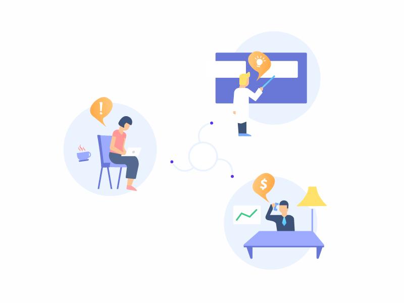 Professionals Connect businessman diagram investor freelancer designer