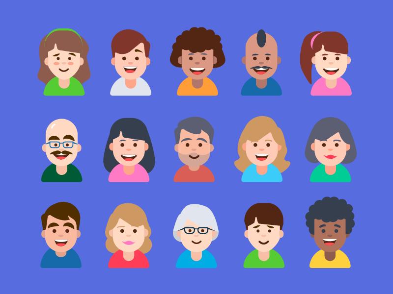Avatars for iOS App avatars emoticons colour icons faces emojis custom people