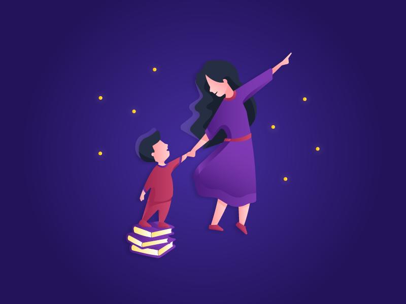 Mother and child illustration gradients mother mom child kid children nighttime purple rebound sky stars gradient