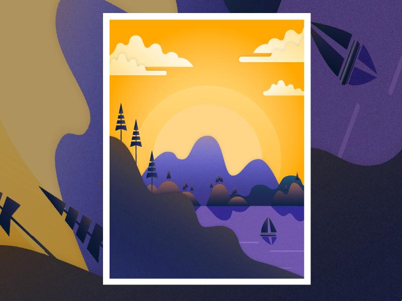 Mountain Day Version trees illustrator landscape travel sailboat public art horizon sunset purple illustration mountain