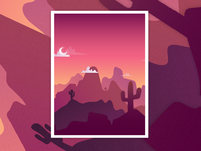 Desert Illustration gradient color colour gradient gradients mountains cactus desert ui illustrator illustration
