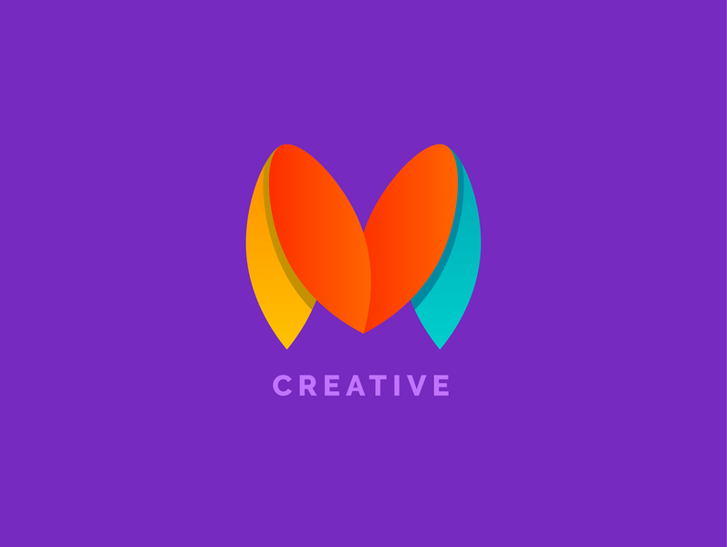 Logo for M Creative gradients visual  identity branding logo color