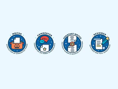 Badge Design badges icons writing art app ui icon branding vector cute illustrator illustration