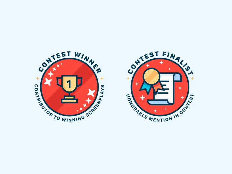 Badges ribbon finalist winner contest medal trophy vector icons design badges branding icon ui cute illustrator illustration