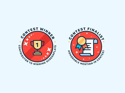 Badges ribbon finalist winner contest medal trophy vector icons design badges branding icon ui cute illustrator illustration