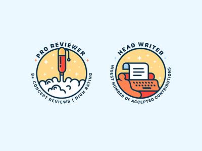 Badges pen screenplay writing badges branding graphic app ui vr icon art cute illustrator illustration