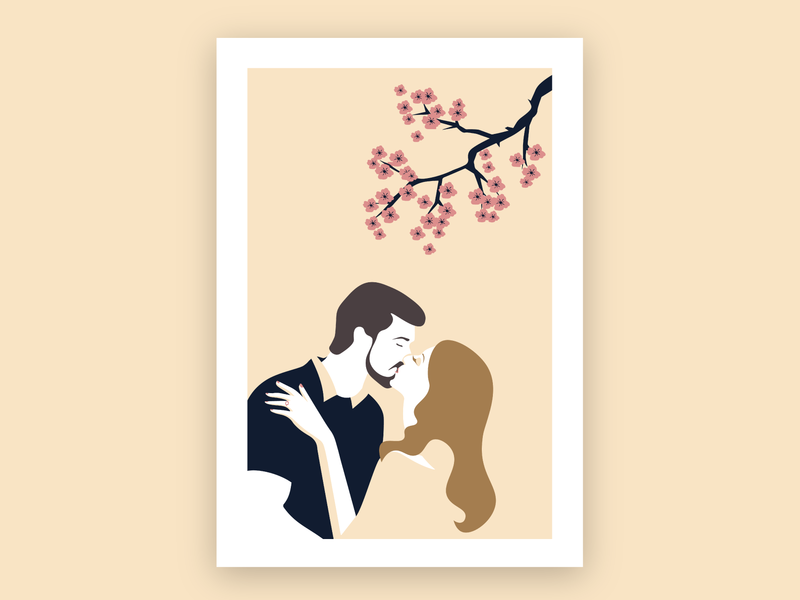 Engagement Kiss simple whitespace ring engagement marriage art design illustration tree cherryblossom love romance kiss