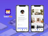 SubletHub App iphone student university real estate sublet housing owl app icon logo branding uiux dailyui app