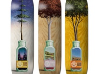 three deck graphics for Element Skateboards