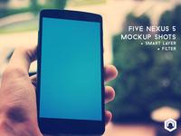 Five Nexus 5 Mockup Shots