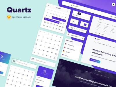Quartz - Sketch UI Library textfield input calendar search components user interface sketch library ui library ui sketch