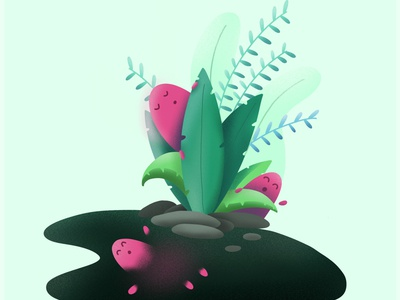 Garden Creatures ipad procreate 3d 2d leaves lake cute illustration