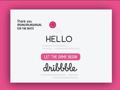 Dribbble Hello- My First Shot toronto debut draft pick user interface ui design thank you splash screen info card hello dribbble dribbble illustration typography