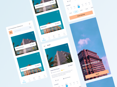 Hotel Booking App Design 🔥 blue hotel booking ux ui pastel color graphic design figma branding design branding app
