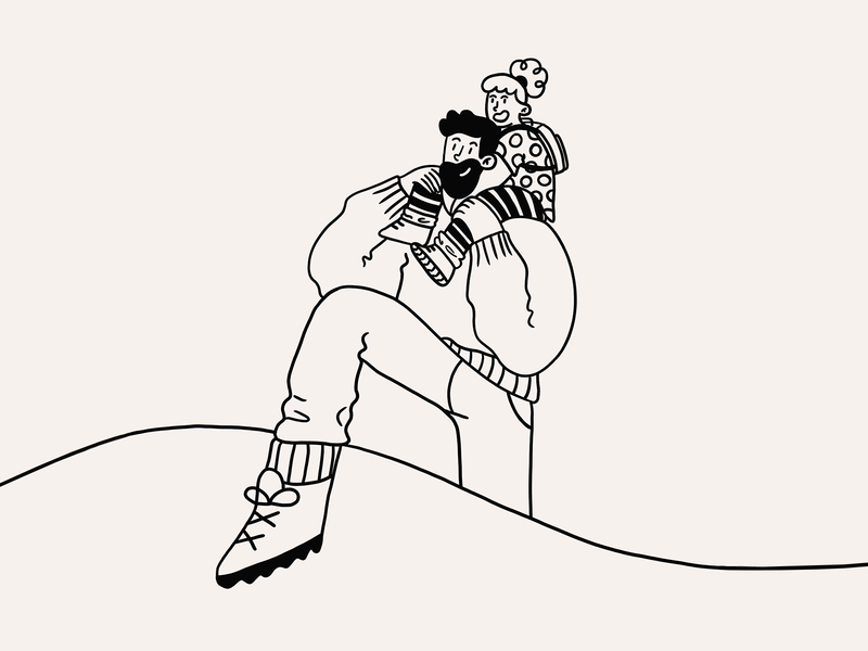 Explore fun love bonding travel explore hike family daughter father procreate character design illustration