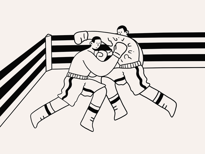Internal Conflict art sketch doodle conflict ring fighter fighting struggle boxing fight character design illustration