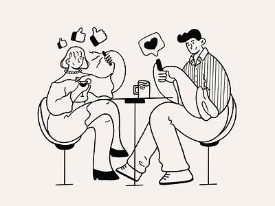 Date drinks selfie like socialmedia social heart love date night date procreate sketch drawing character doodle design illustration