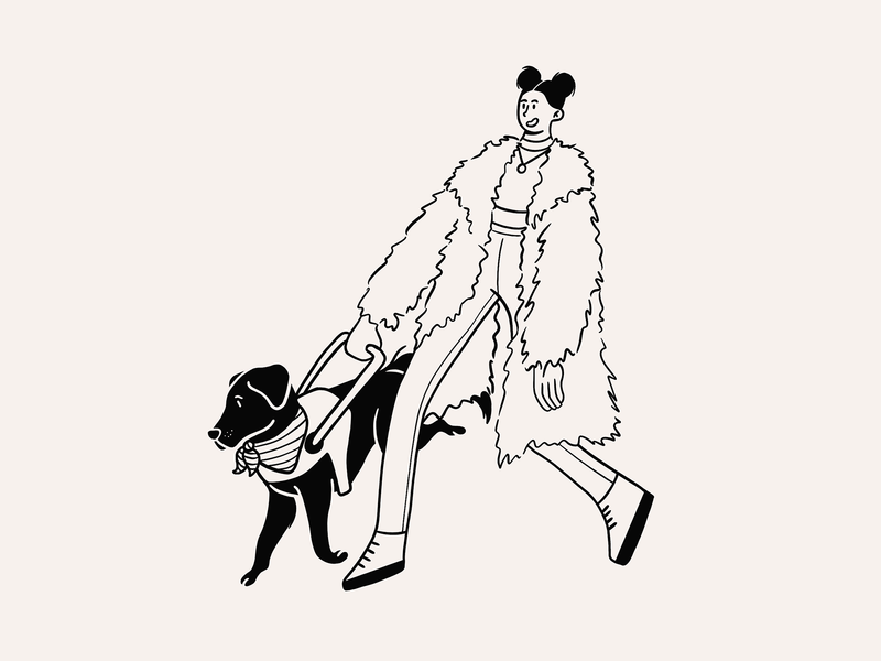 Guide walk style fashion women girl molly burke blind guide dog guide procreate drawingart draw drawing doodle sketch design character illustration