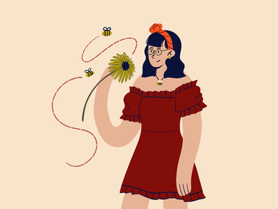 Bumble Bee sunflower flower bumble bee bee hair scarf bob dress fashion girl art procreate draw drawing sketch doodle character design illustration