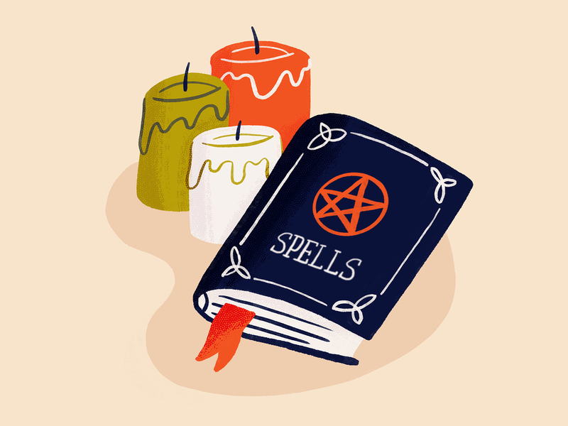 Spells sweet spot skillshare tom froese supernatural bookmark candles magic witch spells book procreate draw drawing sketch doodle design illustration