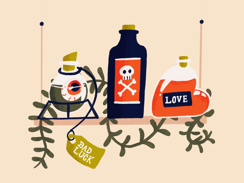 Potions shelf tag dead death poison luck love potions witch art procreate draw drawing sketch doodle design illustration