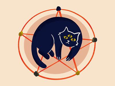 Pentagram Cat magic spell devil satan evil witch pentagram cat art procreate draw drawing sketch doodle design illustration