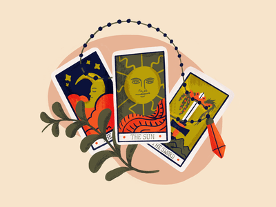 Tarot Cards sword moon sun cards tarot card spell magic witch crystal tarot cards tarot art procreate draw drawing sketch doodle design illustration