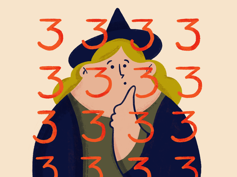 Sign you may be a witch #1 : You notice patterns in daily life. witchcraft numbers patterns witch art procreate character drawing sketch doodle design illustration