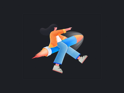 rocket girl design illustration