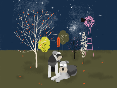 Dogs in country illustration art dog illustration stars night country dogs illustration