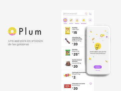 Plum, la app de delivery de golosinas food delivery ui ux app