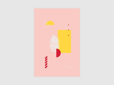 0001 nature shapes postcard white red yellow pink ilustration design geometric abstract